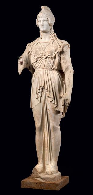 Figure 3 – Statue d'Athéna/Minerve             découverte dans une  du centre de             Lemonum (Poitiers), et qui pouvait en orner la bibliothèque (coll.             Musées de Poitiers)