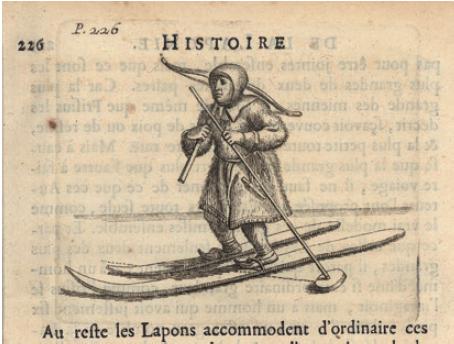 Figure 4 - Un homme à skis (illustration tirée de l'Histoire           de la Laponie de Scheffer, Paris, 1678 ; coll. BNU)