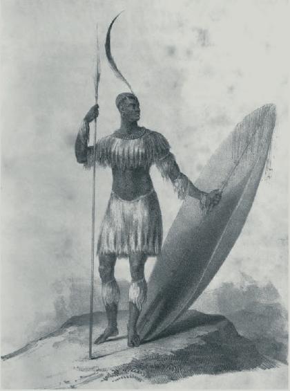 Figure 2 – Chaka, roi des Zoulous (extrait             de Nathaniel Isaacs, , t.1, 1836)