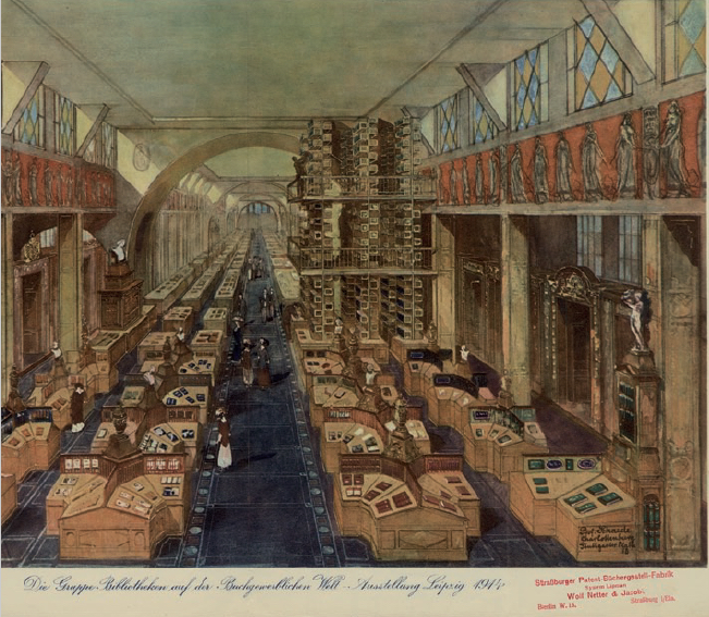Figure 1 - Vue de la section consacrée aux bibliothèques à la           BUGRA de Leipzig en 1914 (archives BNU). On reconnaît, au fond à           droite, le système Lipman.