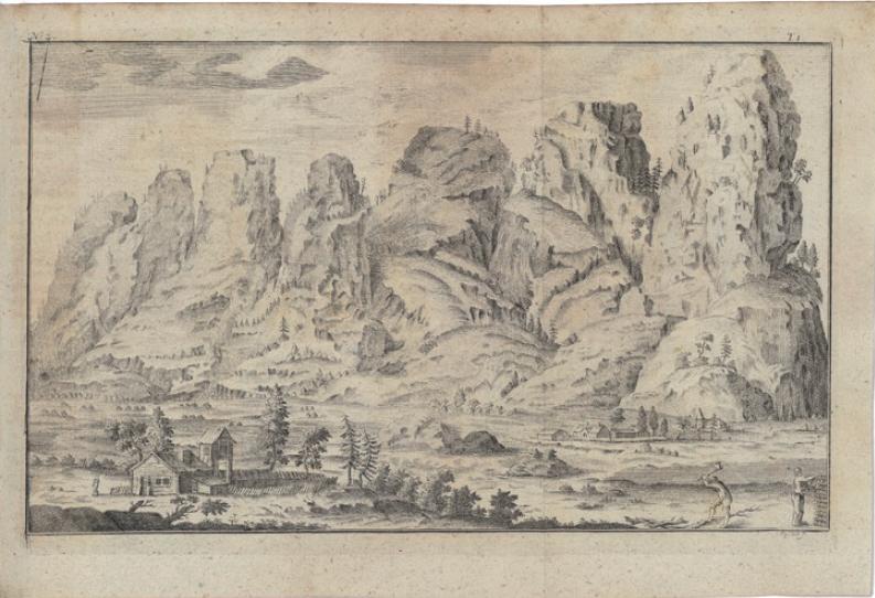 Figure 1 - Gravure extraite du premier volume de l'Histoire           naturelle de la Norvège (édition de Copenhague, 1753), représentant           une chaîne de montagnes et des activités forestières (coll.           BNU).