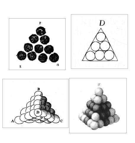 Figure 1 - L'atome-sphère, une tradition iconographique depuis         le 16e siècle. De g. à d. et de h. en b. :          ;  ;          ; . Illustrations tirées de         .
