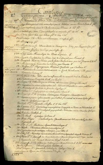 Figure 2 – Page du catalogue de la             bibliothèque de Philippe-Frédéric de Dietrich (coll. bibliothèque             de l'Ecole des mines de Paris)