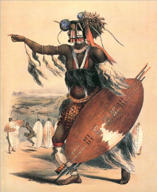 Figure 3 – Utimuni, neveu de Chaka.             Lithographie de Georges F.Angas, ca.1840 (coll. Museum Africa,             Johannesburg)