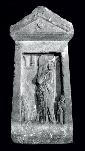 Figure 4 – Stèle funéraire de marbre.             D'après E.Pfuhl, H.Möbius, , I, Mayence, 1977, n418,             pl.69
