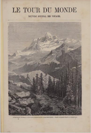 Figure 1 - Le Tour du monde : nouveau journal des voyages           (Paris, Hachette, 1860). Illustration placée en regard de la préface           du premier numéro (coll. BNU)