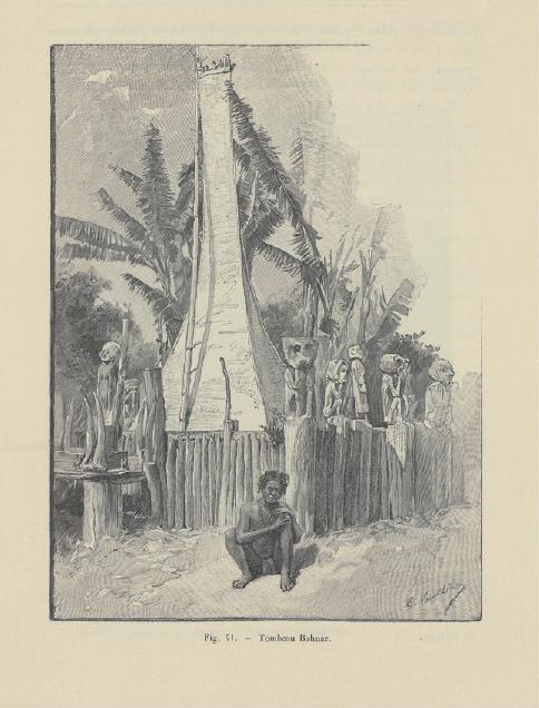 Figure 4 – Tombeau Bahnar, région de Kontum.           Extrait de Cupet, . Paris: Ernest Leroux, 1900, p.347 (coll.           BNU)