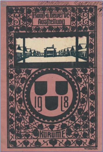 Figure 5 – , troisième exposition, camp de             prisonniers de guerre de Kurume, 1918. Couverture du catalogue             illustrée par Walther Uhlenhuth