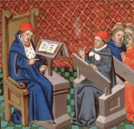 Figure 2 – Miniature représentant           l'enseignement de la médecine, in Bartholomaeus Anglicus, , 1447 (coll.           Bibliothèque municipale d'Amiens)