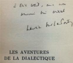 Figure 10 – Dédicace de Maurice Merleau–Ponty,            (1955; coll.           Institut Éric Weil).