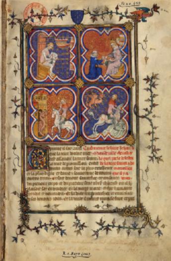 Figure 4 – Incipit du , de Jean de             Mandeville. Médaillon en haut à droite: Gervais Chrétien offrant             l'ouvrage à CharlesV, fondateur du collège de Maître-Gervais             (coll. Bibliothèque nationale de France).