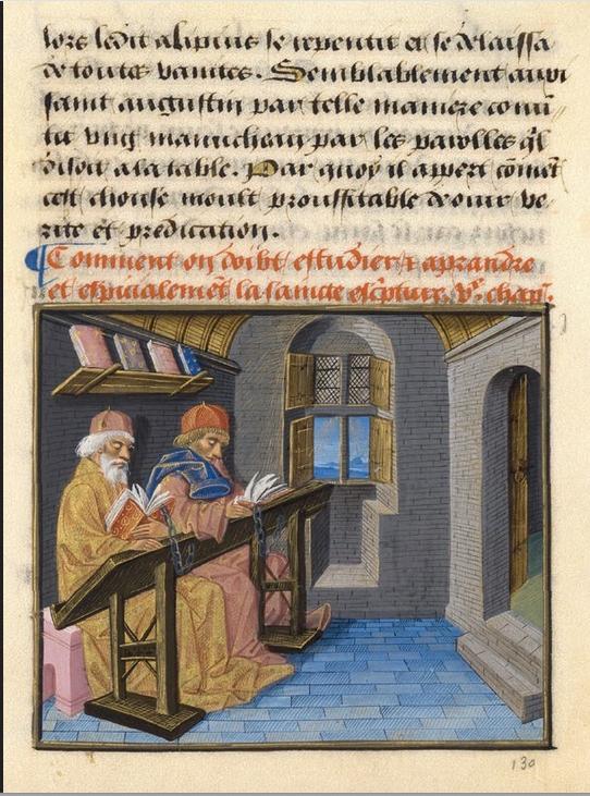 Figure 1 – La consultation de livres enchaînés           :  de Jacques           Legrand (coll. Musée de Chantilly)