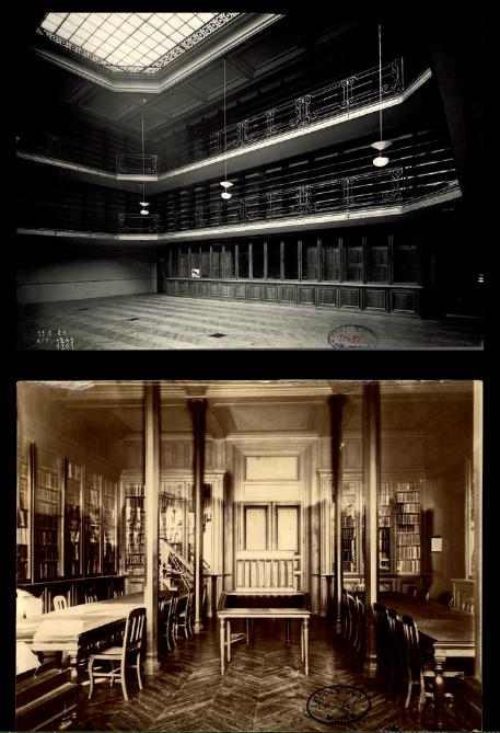 Figure 3 – (Haut) Grande salle de lecture de             la bibliothèque de l'École des mines (vers 1925; coll.             bibliothèque de l'École des mines de Paris)(Bas) Nouvelle             salle des périodiques de la bibliothèque de l'École des mines,             inaugurée en 1926 (coll. bibliothèque de l'École des mines de             Paris)