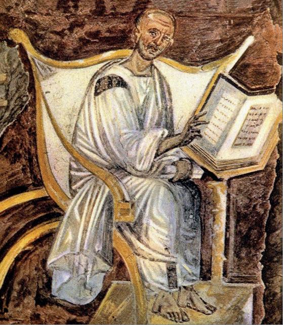 Figure 4 – Portrait présumé de saint             Augustin sur une fresque du Latran datée du VIsiècle, retrouvée sous la basilique             Saint-Jean-de-Latran, dans une salle de la bibliothèque datant de             saint Grégoire le Grand. Dans celle du monastère Saint-André, les             personnages de la frise pouvaient présenter un aspect             voisin.