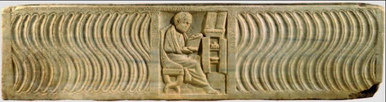 Figure 3 – Bas-relief d'un sarcophage du 4siècle, montrant un médecin lisant devant un           armarium (coll. New York, The Metropolitan Museum of Art)
