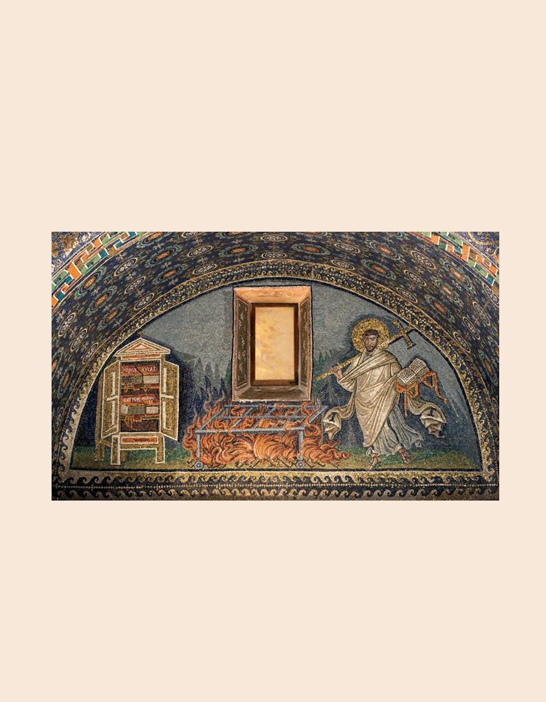 Figure 2 – Ravenne, armoire aux Évangiles.             Mosaïque du mausolée de Galla Placidia, construit vers430 de             notre ère.