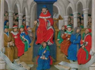 Figure 1 – Miniatures représentant Jean Gerson           enseignant, in Jean Gerson, Thomas a Kempis, , vers 1480 (coll.           Bibliothèque municipale de Valenciennes)