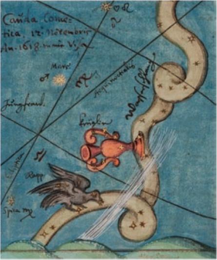 Figure 6 – Wilhelm Schickhard, queue de la             comète vue le 12novembre 1618 (coll. Württembergische             Landesbibliothek Stuttgart)