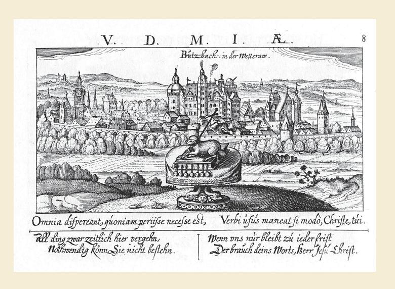 Figure 1 – Vue de Butzbach in der Wetterau           (1625). La tour d'angle (à droite) montre le tube optique braqué           vers l'horizon (in Daniel Meisner, Eberhard Kieser, , Bd.1, Buch5, Nr.8, fac-similé de l'édition           de Frankfurt-am-Main, 1625-1626 et 1627-1631, Nördlingen,           1992).