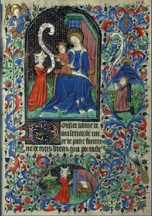 Figure 3 – Page d'un livre d'Heures du 15siècle, avec une figure de femme lisant et priant           (coll. Bibliothèque municipale de Rennes)