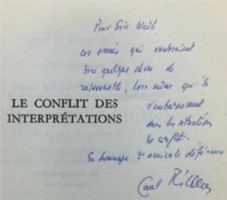 Figure 12 – Dédicace de Paul Ricoeur,  (1969; coll. Institut Éric Weil).