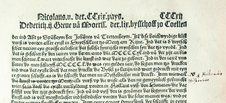 Figure 4 - Chronique de la ville de Cologne : notes sur la             Bible de Gutenberg (coll. Württembergische Landesbibliothek             Stuttgart)