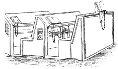 Figure 3 – Pupitres de la bibliothèque             Malatestiana de Césène, en Italie (in J. W. Clark, , Cambridge, 1894). C'est ainsi que devaient se             présenter les manuscrits enchaînés, en libre accès, dans les             bibliothèques de collèges parisiens.