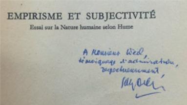 Figure 9 – Dédicace de Gilles Deleuze,  (1953; coll. Institut           Éric Weil).