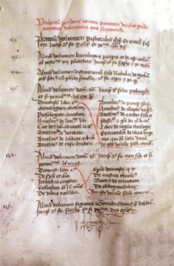 Figure 5 – Inventaire de la bibliothèque du             collège du Trésorier, 1437 (p.19; coll. Archives             nationales)