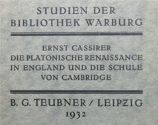 Figure 5 – E.Cassirer, Die Platonische           Renaissance in England und die Schule von Cambridge (1932);           publications de la Bibliothek Warburg, exemplaire personnel           d'É.Weil (coll. Institut Éric Weil).