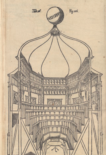 Figure 5 - Planche extraite de l'atlas complétant l'Atlantica           sive Manheim de Rudbeck (Uppsala, 1679) et représentant le théâtre           anatomique d'Uppsala, construit sous la direction de Rudbeck (coll.           BNU)