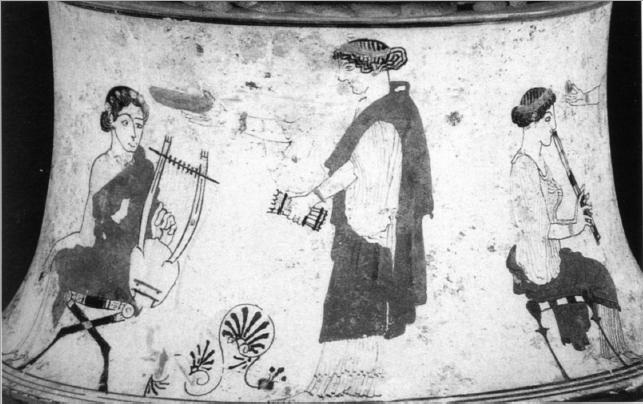 Figure 2 – Pyxide à figures blanches,             460-450 av.J.-C., Boston, Museum of Fine Arts. D'après M. Papini,             « La dolce rugiada delle Muse », dans A.Bottini (éd.), , Milan, 2006, p.49, fig.9