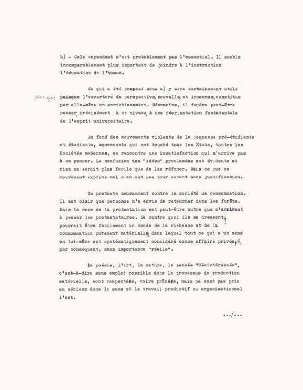 Figure 17 – Extrait d'un tapuscrit inédit           d'Éric Weil consacré à la vie étudiante en1968 (coll. Institut Éric           Weil).