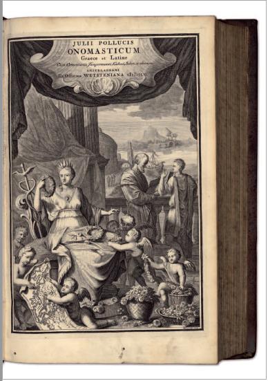 Figure 1 - Page de titre et frontispice de l'édition de               l'Onomasticon de Pollux (Amsterdam, 1706 – coll. BNU)