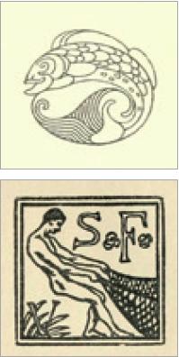 Figure 9 – Vignettes de frontispice et de             page de titre des éditions Samuel Fischer [artiste anonyme], in             , 1908, n3