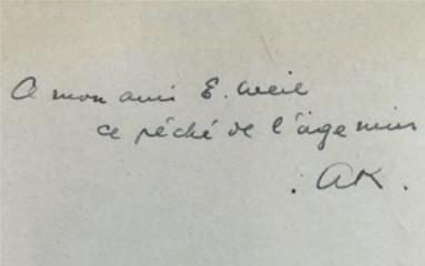 Figure 7 – Dédicace d'Alexandre Koyré,  (1929): «A mon           ami É.Weil, ce péché de l'âge mûr» (coll. Institut Éric           Weil).