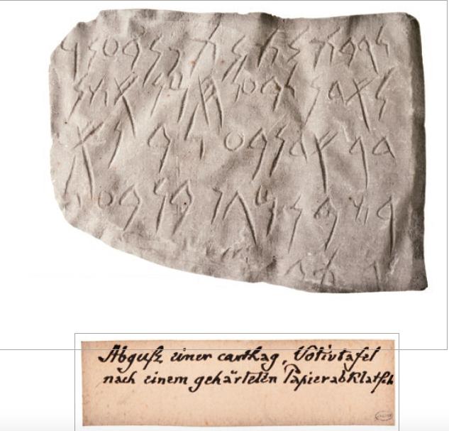 Figure 6 – Moulage en plâtre réalisé à             partir d'un estampage sur papier d'un texte votif carthaginois             (coll. BNU).