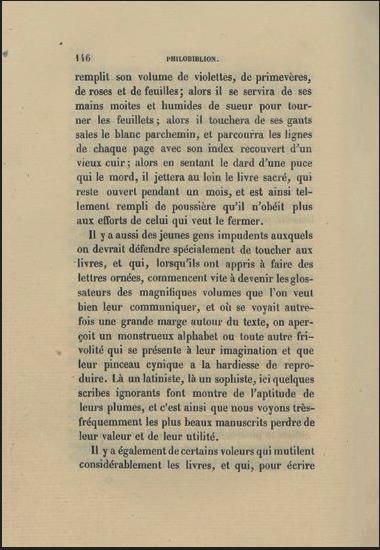 Figure 3 – La défense des livres dans le                 Philobiblion de Richard de Bury, vers1345. Édité dans                 Tractatus pulcherrimus de amore librorum, éd. Hippolyte                 Cocheris, Paris, 1856, p.146 (coll. BNU).
