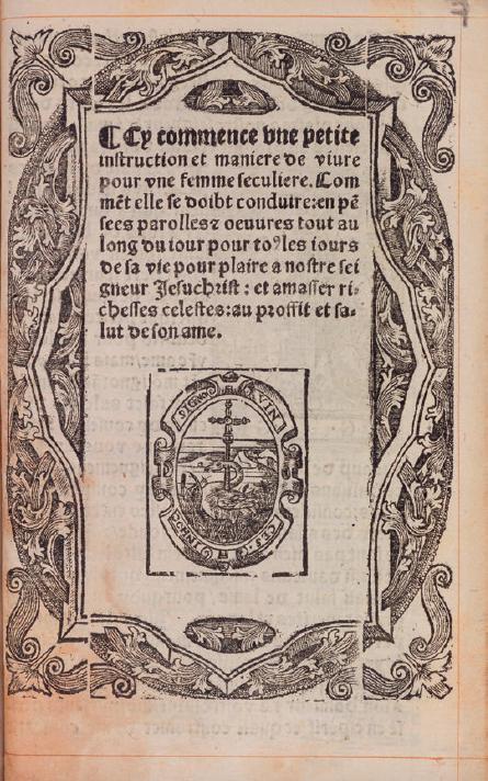 Figure 1 – Page de titre du livre , Paris, pour Guillaume Merlin, 1553 (coll.           Universiteit van Amsterdam)