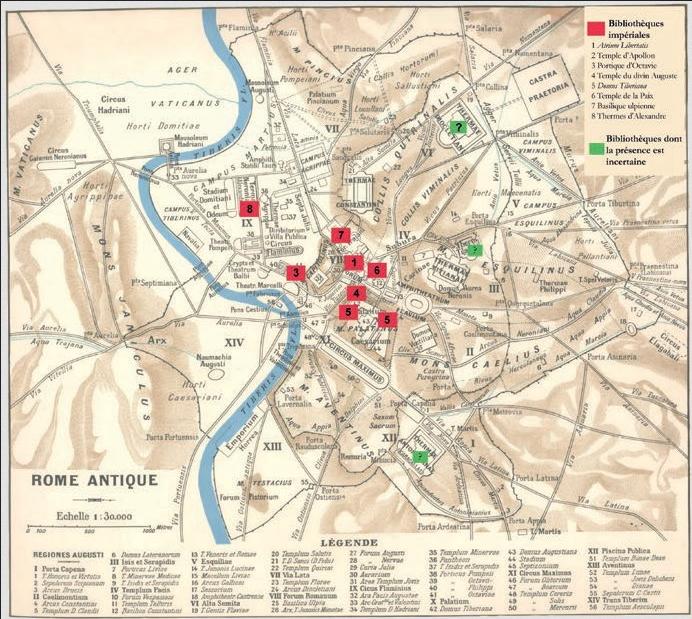 Figure 2 – Plan des bibliothèques publiques           romaines (fond de carte issu du , éd. 1866-1877)