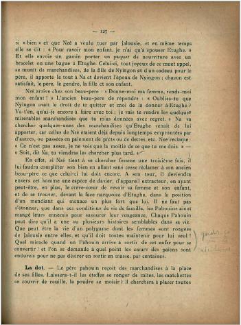 Figure 3 - Commentaires de Mauss sur le livre de F. Grébert,             Au Gabon : Afrique équatoriale française, Société des missions             évangéliques, 1928 (médiathèque du musée du quai Branly)