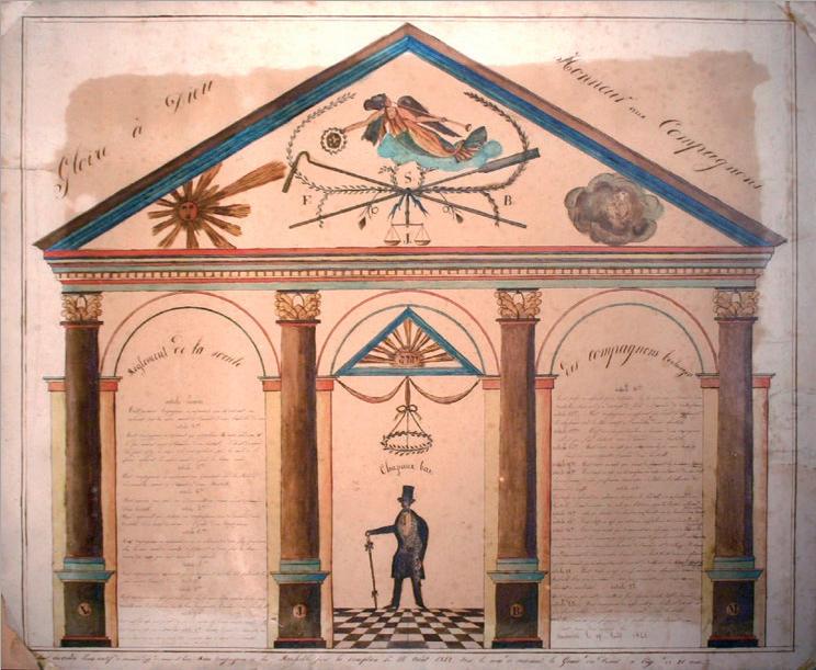 Figure 2 – Règlement des compagnons             boulangers de Saumur (1842; coll. Musée du Compagnonnage de             Tours).
