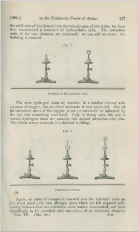 Figure 2 - L'atome-sphère sous forme de modèle en trois           dimensions, permettant de visualiser les formules chimiques.           Développé en 1865 par le chimiste August Wilhelm Hofmann pour ses           conférences publiques, il s'agit à l'origine de balles de croquet           peintes reliées par des tubes de métal.