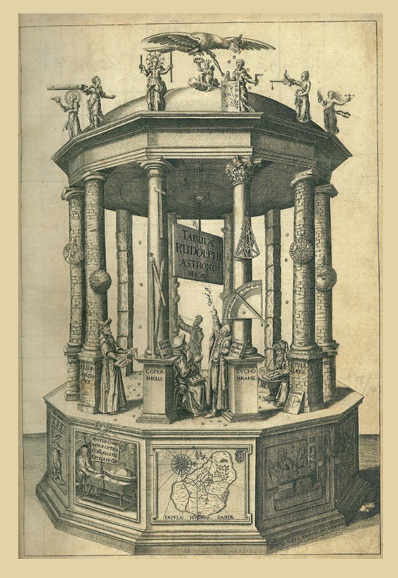 Figure 4 – J. Kepler, frontispice des (1627), in Michael             Rågsted: «About the cover: Kepler and the Rudolphine Tables»,             in , vol.50, n4,             octobre2013, p.629-639