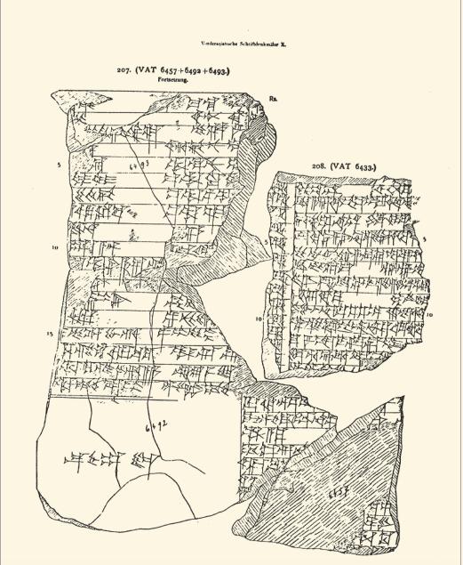 Figure 1 – Tablette scolaire, copie de la           composition sumérienne ,           portant à la fin de l'exercice la mention: «de la main d'une femme           scribe» (coll. Vorderasiatisches Museum, Berlin)