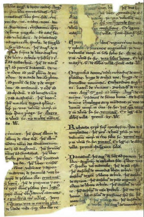 Figure 4 – Liste de livres légués à la           bibliothèque du collège de la Sorbonne par Gérard d'Abbeville,           glissée dans un ouvrage de théologie. Manuscrit latin composite           consacré aux articles de la foi (coll. BnF).