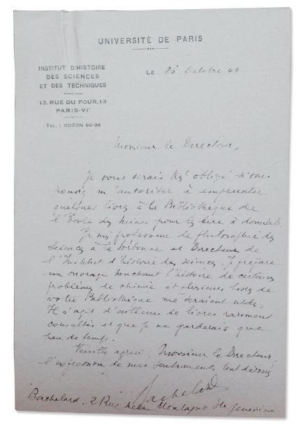 Figure 4 – Lettre de Gaston Bachelard au             directeur de la bibliothèque, sollicitant l'autorisation (qui lui             fut refusée) d'emprunter des ouvrages du fonds (coll. bibliothèque             de l'École des mines de Paris)