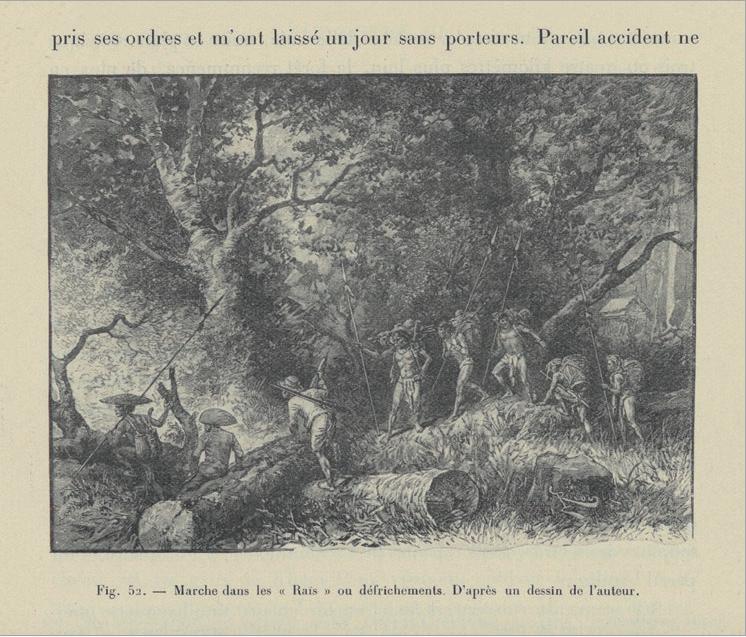 Figure 3 – Marche dans les « Raïs » ou           défrichements. Extrait de Malglaive et Rivière, . Paris:           Ernest Leroux, 1900, p.196 (coll. BNU)