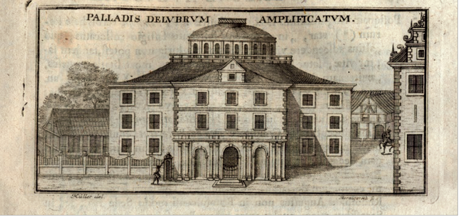 Figure 3 – La «rotonde» a été construite             de1706 à1710; c'est l'un des premiers bâtiments, au nord des             Alpes, spécifiquement construits pour abriter une bibliothèque (in             Jacob Burckhard,  [pars 1], Wolfenbüttel, s.d.)