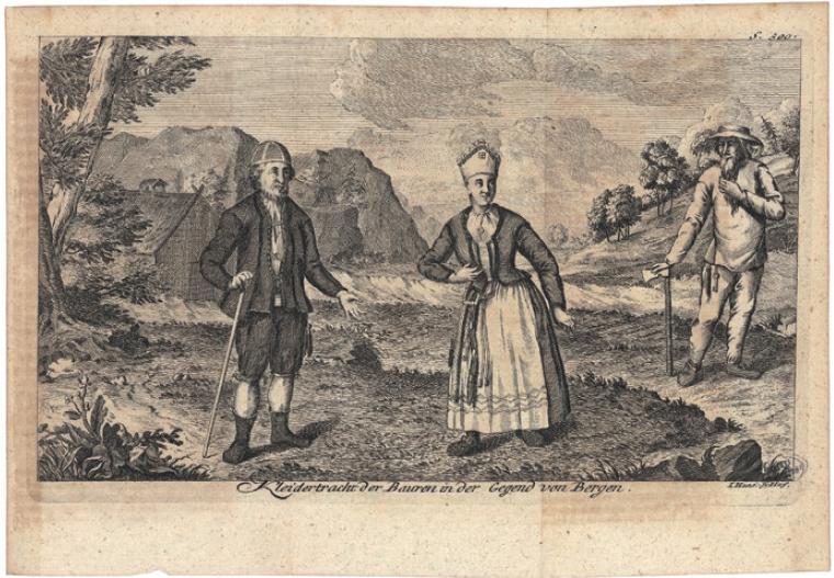 Figure 4 - Gravure extraite du second volume de l'Histoire           naturelle de la Norvège (édition de Copenhague, 1754), représentant           des costumes traditionnels paysans de la région de Bergen (coll.           BNU).